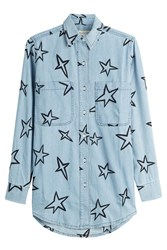 Etre Cecile Embroidered Denim Shirt Blue