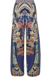 Camilla Darling's Destiny Embellished Printed Silk Crepe De Chine Pants Blue