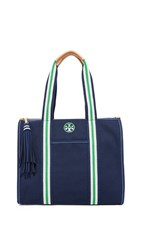 Tory Burch Preppy Canvas Ns Tote Royal Navy