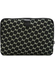Z Zegna Geometric Pattern Zipped Clutch Green