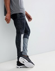 Liquor N Poker Skinny Fit Jeans With Patchwork Blue