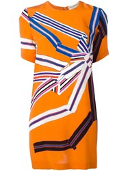 Emilio Pucci Geometric Print T Shirt Dress Yellow Orange