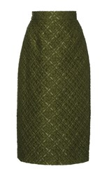 Lela Rose Checkered Matelasse Pencil Skirt Olive