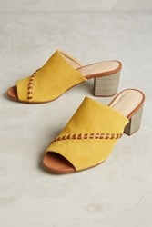 Anthropologie Farylrobin Color Pop Whipstitch Mules Gold