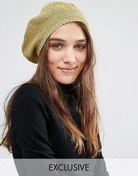 Stitch And Pieces Metallic Gold Knit Beret Gold