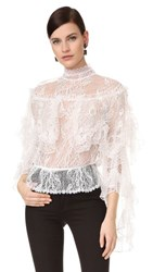 Rodarte Lace Tiered Ruffle Blouse White