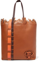 Emilio Pucci Fringed Leather Tote Brown