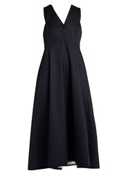 Tibi Cotton Poplin Dress Navy