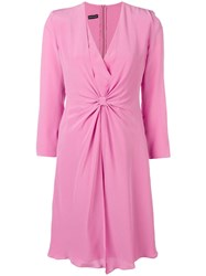 Emporio Armani V Neck Knot Dress Pink