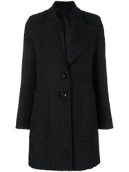 Eggs Wide Lapel Coat Black