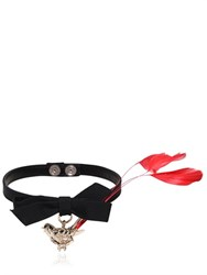 Red Valentino Leather Choker With Bird Pendant