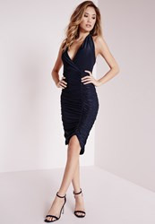 Missguided Slinky Ruched Halterneck Bodycon Dress Navy Blue