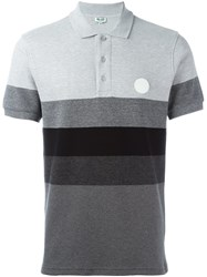 Kenzo Striped Polo Shirt Grey