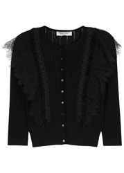 Valentino Black Lace Trimmed Wool Cardigan