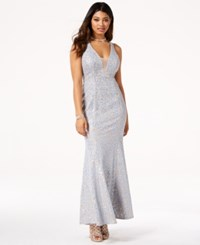 Jump Juniors' Sequined Lace Open Back Gown Powder Blue