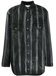 Faith Connexion Loose Fit Striped Shirt Black