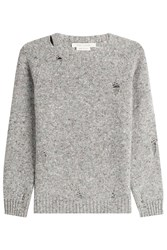 Marc Jacobs Distressed Wool Pullover With Cashmere Grey