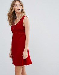Deby Debo Ezra V Neck Mini Dress Rouge Red