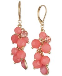 Nine West Stone And Crystal Beaded Cluster Drop Earrings Pink