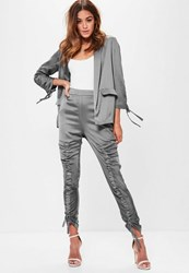 Missguided Grey Ruched Front Satin Cigarette Trousers