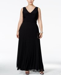 Xscape Evenings Plus Size Pleated V Neck Gown Black