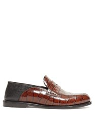 Loewe Collapsible Back Crocodile Effect Leather Loafers Black Brown