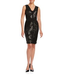 Calvin Klein Sequined Lace Accented Sheath Dress Black