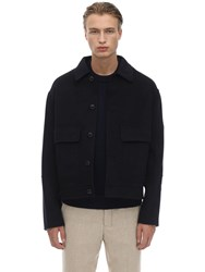Ami Alexandre Mattiussi Wool And Cashmere Casual Jacket Navy