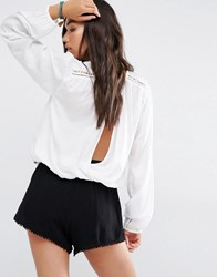 Billabong Long Sleeve Wrap Back Top With Ladder Inserts And Shoulder Stud Detail Stud Detail White