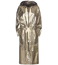 Isabel Marant Namil Metallic Silk Blend Coat Gold