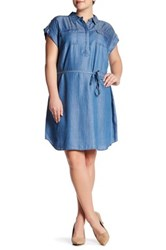 Vince Camuto Rolled Short Sleeve Shirtdress Plus Size Blue
