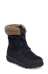 Fitflop Women's Tm Loaff Waterproof Genuine Shearling Boot Super Navy Leather