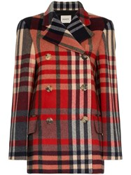 Khaite Tartan Cashmere And Wool Double Breasted Coat Black