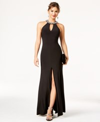 B. Darlin B Juniors' Rhinestone Caged Halter Gown Black Crystal