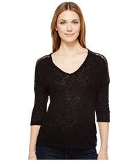 B Collection By Bobeau Lottie Lace Trim Top Black Women's Short Sleeve Pullover
