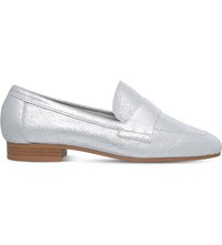 Kg By Kurt Geiger Keisha Metallic Leather Loafers Silver