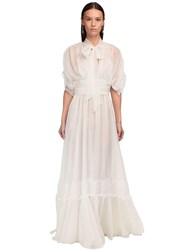 Luisa Beccaria Draped Silk Chiffon And Lace Long Dress White