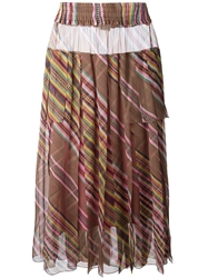 Christian Dior Vintage Long Striped Pleated Skirt
