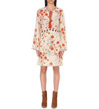 The Kooples Floral Print Silk Dress Ecru