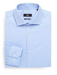 Hugo Boss Chevron Textured Dress Shirt Light Blue