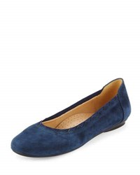 Neiman Marcus Seyna Scalloped Suede Flat Navy