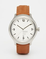 Mondaine Helvetica Bold Leather Watch In Brown 43Mm Brown