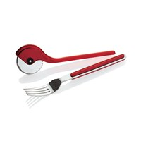 Guzzini Gocce Fork And Pizza Cutter Set Red