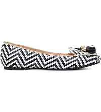 Miss Kg Neptune Faux Leather Ballerina Flats Blk White