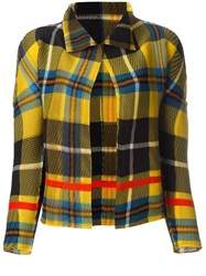 Issey Miyake Cauliflower Plaid Cropped Jacket Yellow Orange