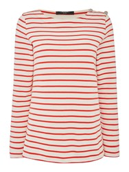 Max Mara Rabbino Longsleeve Stripe Top With Button Detail Red