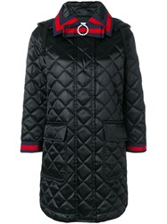 Gucci Quilted Hooded Coat Cotton Polyamide Polyester Viscose Black