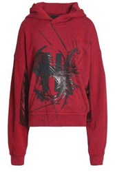 Haider Ackermann Printed French Cotton Terry Hooded Sweatshirt Red