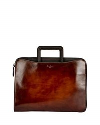 Berluti Lift Two Tone Leather Briefcase Brown