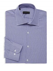 Ike By Ike Behar Houndstooth Long Sleeve Dress Shirt Lavender
